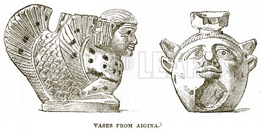 Vases from Aigina. Illustration from History of Greece by Victor Duruy (Boston, 1890).