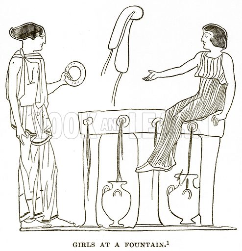Girls at a Fountain. Illustration from History of Greece by Victor Duruy (Boston, 1890).