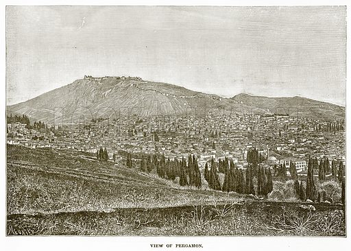 View of Pergamon. Illustration from History of Greece by Victor Duruy (Boston, 1890).