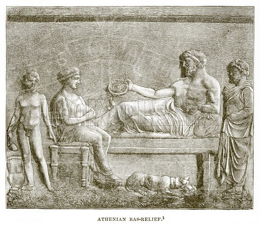 Athenian Bas-Relief. Illustration from History of Greece by Victor Duruy (Boston, 1890).