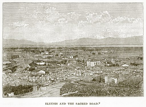 Eleusis and the Sacred Road. Illustration from History of Greece by Victor Duruy (Boston, 1890).