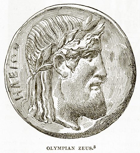 Olympian Zeus. Illustration from History of Greece by Victor Duruy (Boston, 1890).