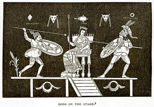 Gods on the Stage. Illustration from History of Greece by Victor Duruy (Boston, 1890).