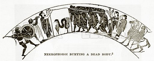 Nekrophoroi Burying a dead Body. Illustration from History of Greece by Victor Duruy (Boston, 1890).