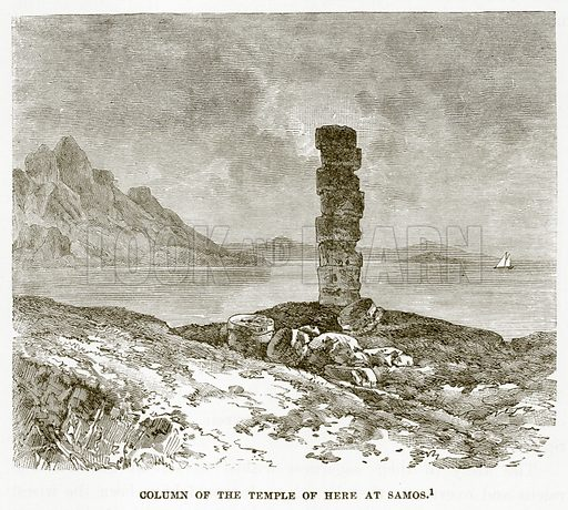 Column of the Temple of here at Samos. Illustration from History of Greece by Victor Duruy (Boston, 1890).