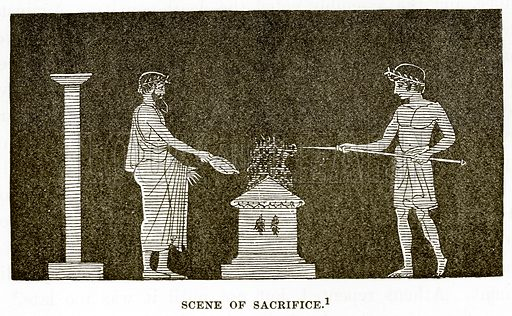 Scene of Sacrifice. Illustration from History of Greece by Victor Duruy (Boston, 1890).