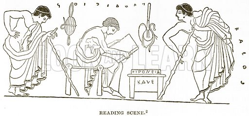 Reading Scene. Illustration from History of Greece by Victor Duruy (Boston, 1890).