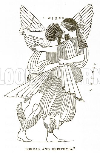 Boreas and Oreithyia. Illustration from History of Greece by Victor Duruy (Boston, 1890).