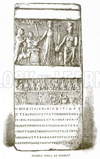 Marble Stela at Lesbos. Illustration from History of Greece by Victor Duruy (Boston, 1890).