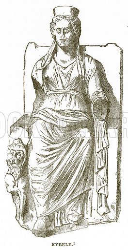 Kybele. Illustration from History of Greece by Victor Duruy (Boston, 1890).