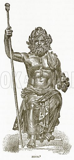 Zeus. Illustration from History of Greece by Victor Duruy (Boston, 1890).