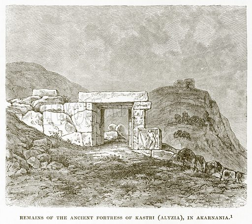 Remains of the Ancient Fortress of Kastri (Alyzia), in Akarnania. Illustration from History of Greece by Victor Duruy (Boston, 1890).