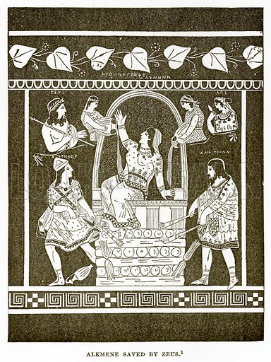 Alkmene saved by Zeus. Illustration from History of Greece by Victor Duruy (Boston, 1890).