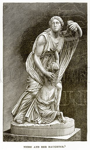 Niobe and her Daughter. Illustration from History of Greece by Victor Duruy (Boston, 1890).