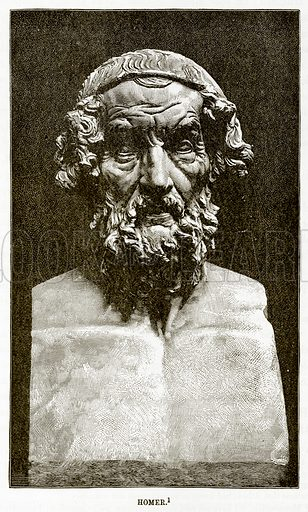 Homer. Illustration from History of Greece by Victor Duruy (Boston, 1890).