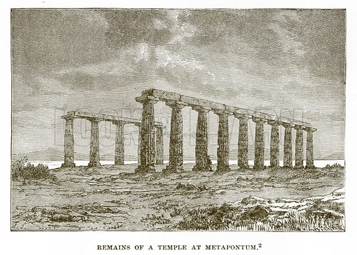 Remains of a Temple at Metapontum. Illustration from History of Greece by Victor Duruy (Boston, 1890).