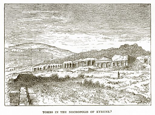 Tomb in the Necropolis of Kyrene. Illustration from History of Greece by Victor Duruy (Boston, 1890).