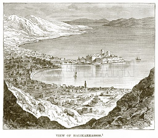 View of Halikarnassos. Illustration from History of Greece by Victor Duruy (Boston, 1890).