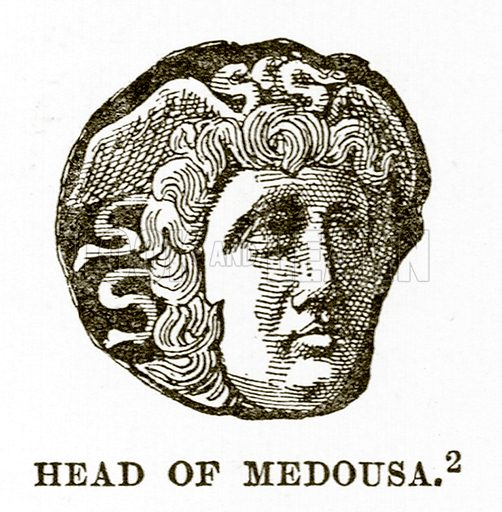 Head of Medousa. Illustration from History of Greece by Victor Duruy (Boston, 1890).