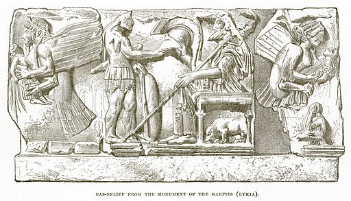 Bas-Relief from the Monument of the Harpies (Lykia). Illustration from History of Greece by Victor Duruy (Boston, 1890).
