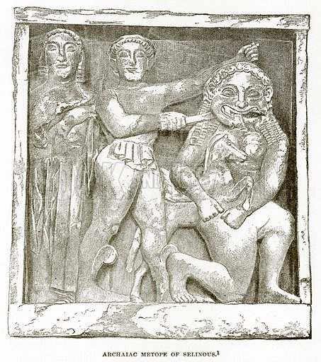 Archaiac Metope of Selinous. Illustration from History of Greece by Victor Duruy (Boston, 1890).