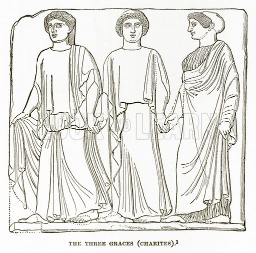 The Three Graces (Charites). Illustration from History of Greece by Victor Duruy (Boston, 1890).
