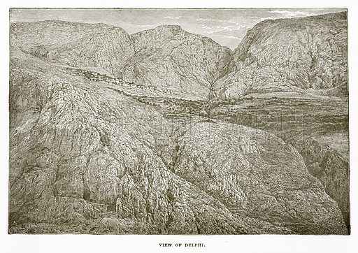 View of Delphi. Illustration from History of Greece by Victor Duruy (Boston, 1890).