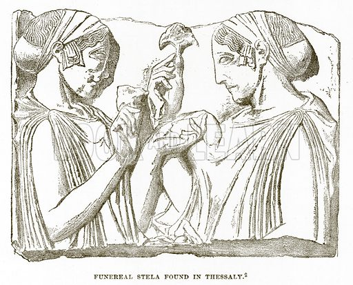 Funereal Stela found in Thessaly. Illustration from History of Greece by Victor Duruy (Boston, 1890).