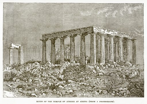 Ruins of the Temple of Athene at Aigina. Illustration from History of Greece by Victor Duruy (Boston, 1890).