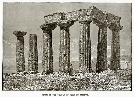 Ruins of the Temple of Here at Corinth. Illustration from History of Greece by Victor Duruy (Boston, 1890).