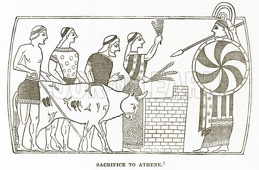 Sacrifice to Athene. Illustration from History of Greece by Victor Duruy (Boston, 1890).