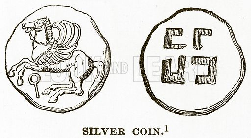 Silver Coin. Illustration from History of Greece by Victor Duruy (Boston, 1890).