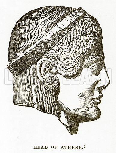 Head of Athene. Illustration from History of Greece by Victor Duruy (Boston, 1890).
