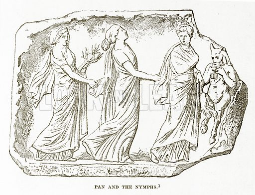 Pan and the Nymphs. Illustration from History of Greece by Victor Duruy (Boston, 1890).