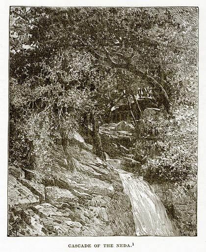 Cascade of the Neda. Illustration from History of Greece by Victor Duruy (Boston, 1890).