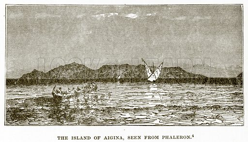 The Island of Aigina, seen from Phaleron. Illustration from History of Greece by Victor Duruy (Boston, 1890).