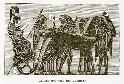 Athene mounting her Chariot. Illustration from History of Greece by Victor Duruy (Boston, 1890).