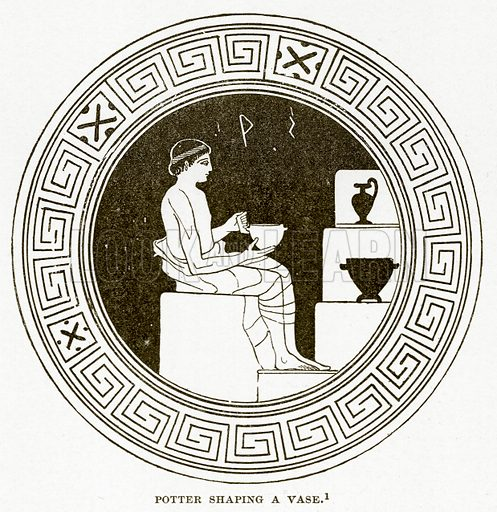 Potter Shaping a Vase. Illustration from History of Greece by Victor Duruy (Boston, 1890).