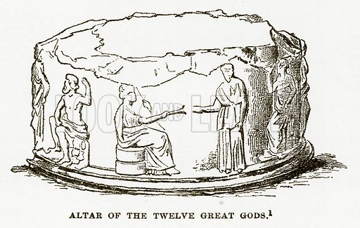 Altar of the Twelve Great Gods. Illustration from History of Greece by Victor Duruy (Boston, 1890).