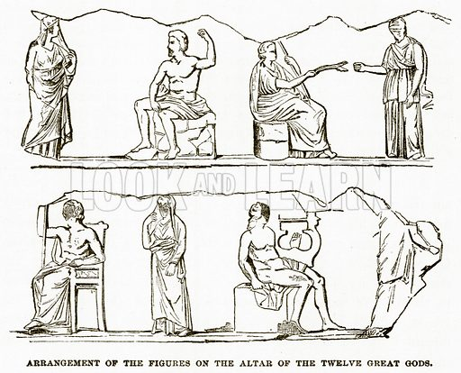 Arrangement of the figures on the Altar of the Twelve Great Gods. Illustration from History of Greece by Victor Duruy (Boston, 1890).