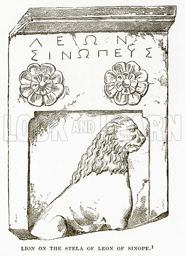 Lion on the Stela of Leon of Sinope. Illustration from History of Greece by Victor Duruy (Boston, 1890).