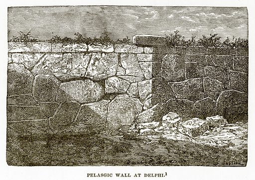Pelasgic Wall at Delphi. Illustration from History of Greece by Victor Duruy (Boston, 1890).