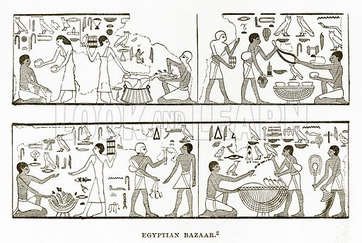 Egyptian Bazaar. Illustration from History of Greece by Victor Duruy (Boston, 1890).