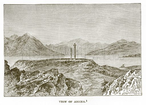 View of Aigina. Illustration from History of Greece by Victor Duruy (Boston, 1890).