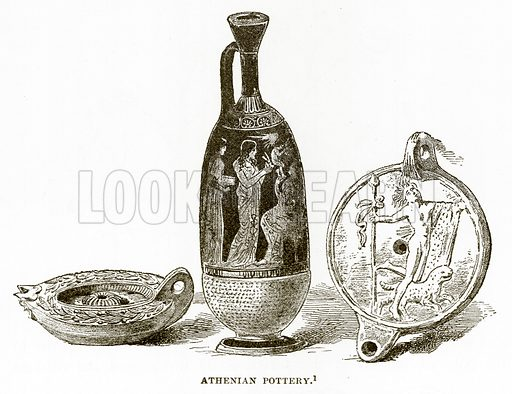 Athenian Pottery. Illustration from History of Greece by Victor Duruy (Boston, 1890).