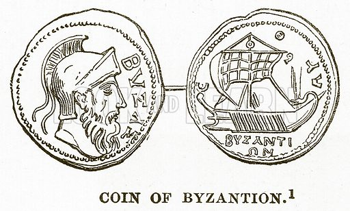 Coin of Byzantion. Illustration from History of Greece by Victor Duruy (Boston, 1890).