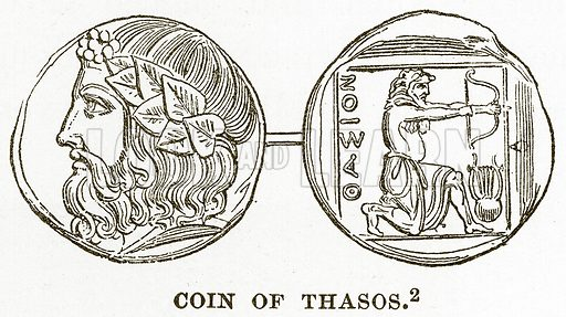 Coin of Thasos. Illustration from History of Greece by Victor Duruy (Boston, 1890).