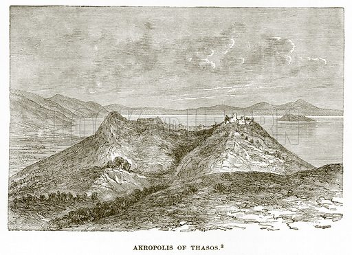 Akropolis of Thasos. Illustration from History of Greece by Victor Duruy (Boston, 1890).