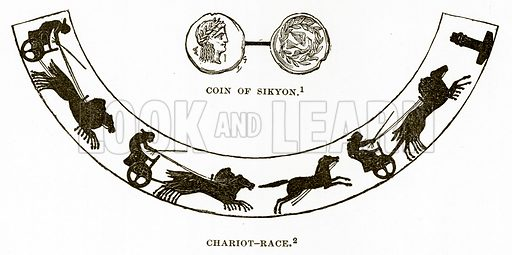 Coin of Sikyon. Chariot-Race. Illustration from History of Greece by Victor Duruy (Boston, 1890).
