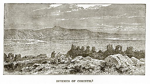 Isthmus of Corinth. Illustration from History of Greece by Victor Duruy (Boston, 1890).